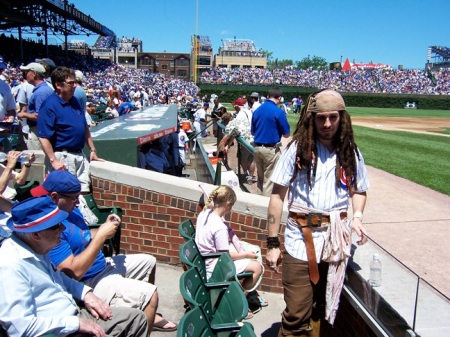 Capt. Jack Sparrow, or a reasonable facsimile, mistakenly thought the Cubs were playing the Pirates.